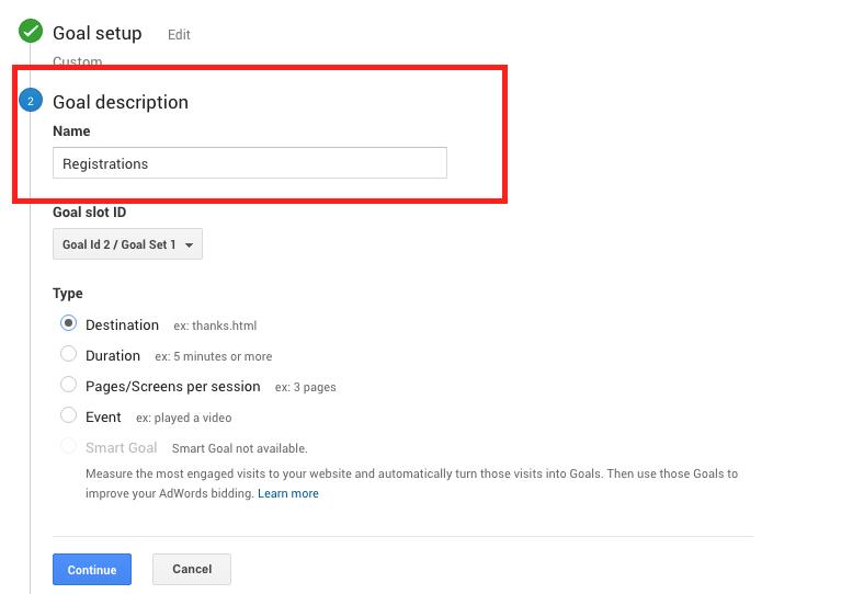 How to track Google Analytics Goals - Destination