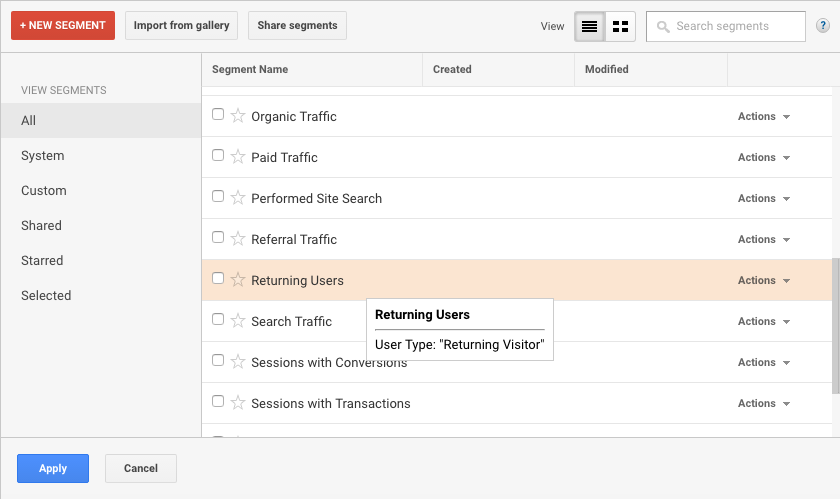 Google Analytics Returning Visitors Segment