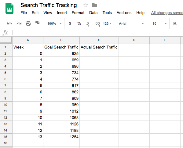 Data driven marketing: Search traffic tracking spreadsheet